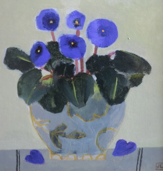 African Violets/Acrylic/28x28cm/£550