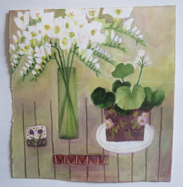 Jill Leman /Flowers on my table/Acrylic on paper/36x36cm