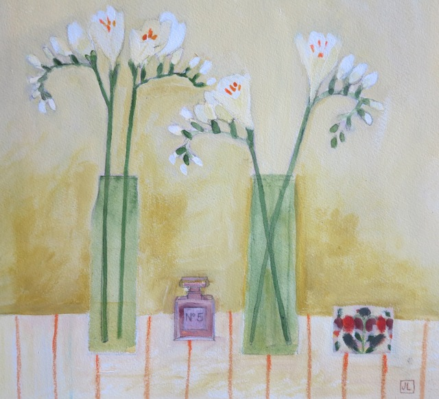Jill Leman /Freesias & tiny Chanel No5 bottle/Acrylic on paper/36x36cm