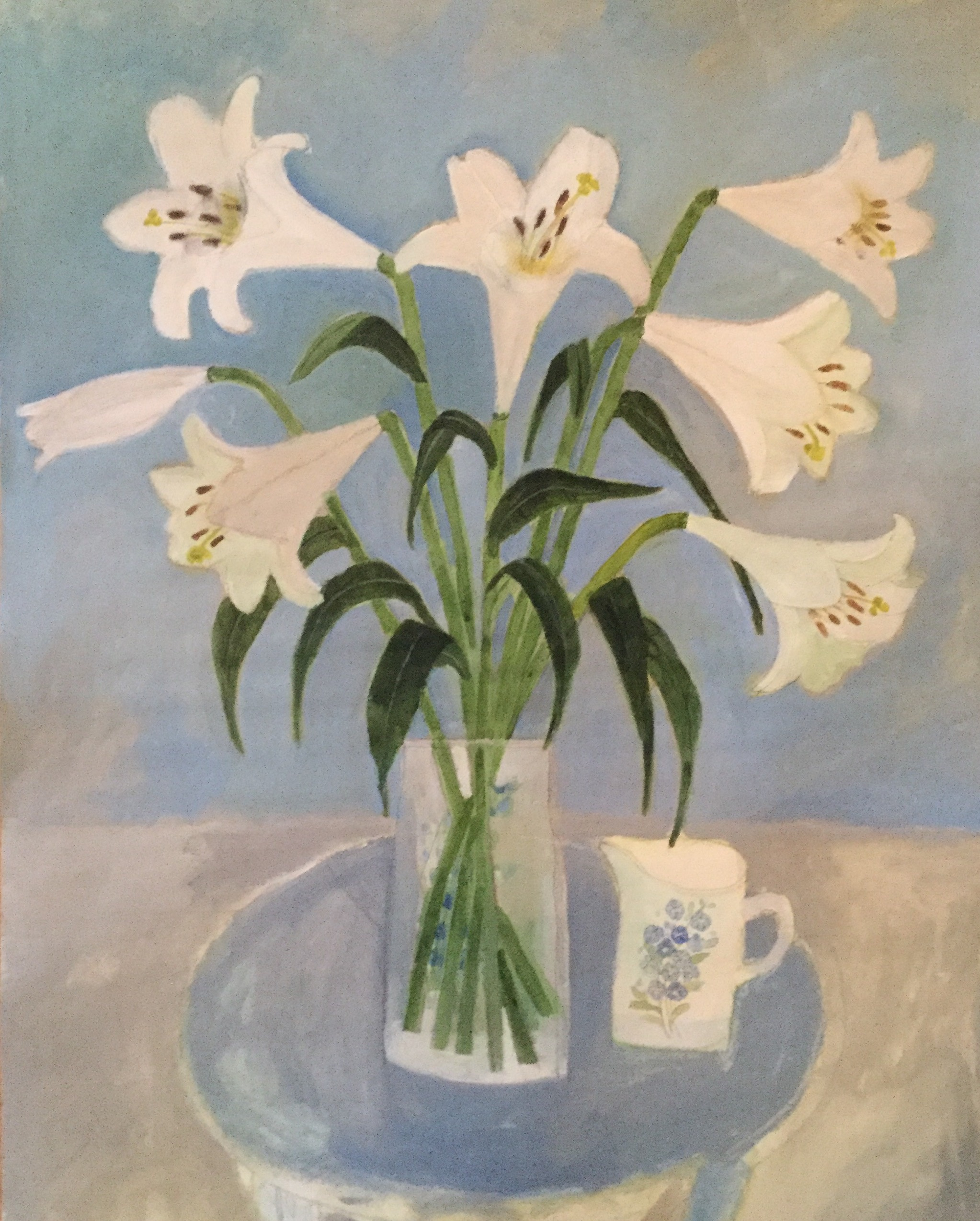 Lillies on a blue table