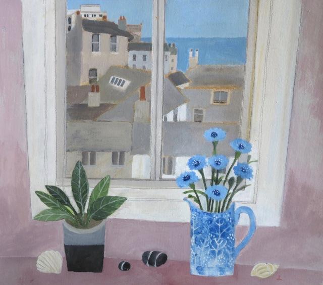 Cornflowers on St Ives Windowsill/Acrylic/Framed size 60x66/£950
